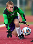 Mascoutah goalkeeper Stephen Schultz dives on a ball shot on goal by Columbia late in the second half. Columbia defeated Mascoutah 5-0 to win the Nike Bracket in the Metro Cup Boys Soccer Tournament on Saturday August 25, 2018.<br /> Tim Vizer/Special to STLhighschoolsports.com