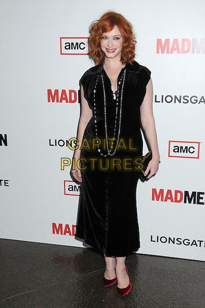 """Christina Hendricks.""""Mad Men"""" Season Six Los Angeles Premiere held at the Director's Guild of America, West Hollywood, California, USA..March 20th, 2013.full length dress black velvet silver shoes red clutch bag necklaces.CAP/ADM/BP.©Byron Purvis/AdMedia/Capital Pictures."""