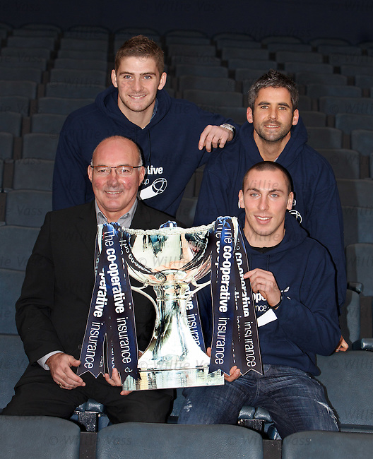 Willie Miller, Scott Brown, Kyle Hutton and Keith Lasley at the Co-Op Cup semifinal draw