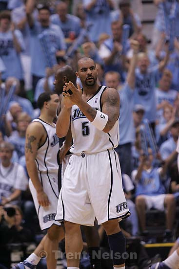 Salt Lake City - Utah's Carlos Boozer screams his approval of a Jazz score in the first half. Utah Jazz vs. San Antonio Spurs, Western Conference Finals game three at EnergySolutions Arena..5.26.2007