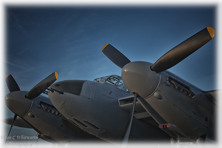An up close view of the WWII de Havilland Mosquito in the evening at the Canadian Warplane Heritage Museum in Hamilton.