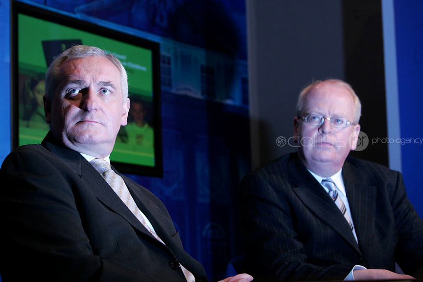 19/02/07  Taoiseach Bertie Ahern with Tainaiste Michael McDowell at a press conference at Government Buildings to announce the wording for the Constitutional Amendment on Children.PictuireArthur Carron/ Collins, ,