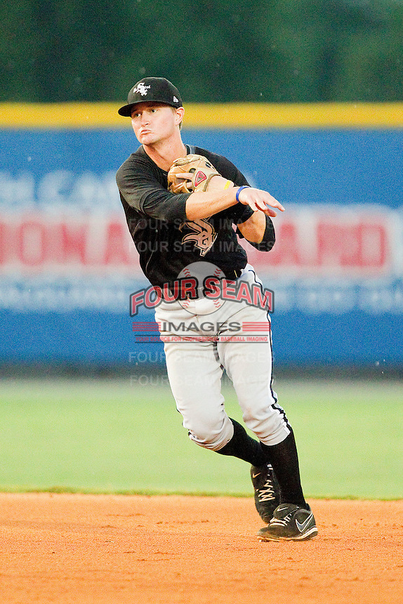 Bristol White Sox second baseman Eric Grabe #40 makes a throw to first base against the Burlington Royals at Burlington Athletic Park on July 6, 2012 in Burlington, North Carolina.  The Royals defeated the White Sox 5-2.  (Brian Westerholt/Four Seam Images)