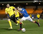 Ryan Hardie sprints past Declan Gallacher