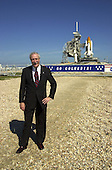 The new National Aeronautics and Space Administration (NASA) Administrator,  Sean O'Keefe,  poses for a photo near Launch Pad 39A at the Kennedy Space Center (KSC), Florida on February 15, 2002  . Space Shuttle Columbia is poised on the pad behind him for launch February 28, 2002 and mission STS-109. The administrator was at KSC on an agencywide familiarization tour of NASA field centers. He was nominated for the position as administrator in November,  2001 by United States President George W. Bush. He was sworn in December 21, 2001 as the agency's 10th chief.  O'Keefe resigned his position on December 13, 2004.<br /> Mandatory Credit: Michael R. Brown / NASA via CNP