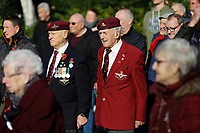 Pictured: Two veterans observe two minutes silence at Castle Square Gardens in Swansea, Wales, UK. Monday 11 November 2019<br /> Re: Armistice Day, a service to commemorate those who lost their lives in conflict has been held at Castle Square Gardens in Swansea, Wales, UK.