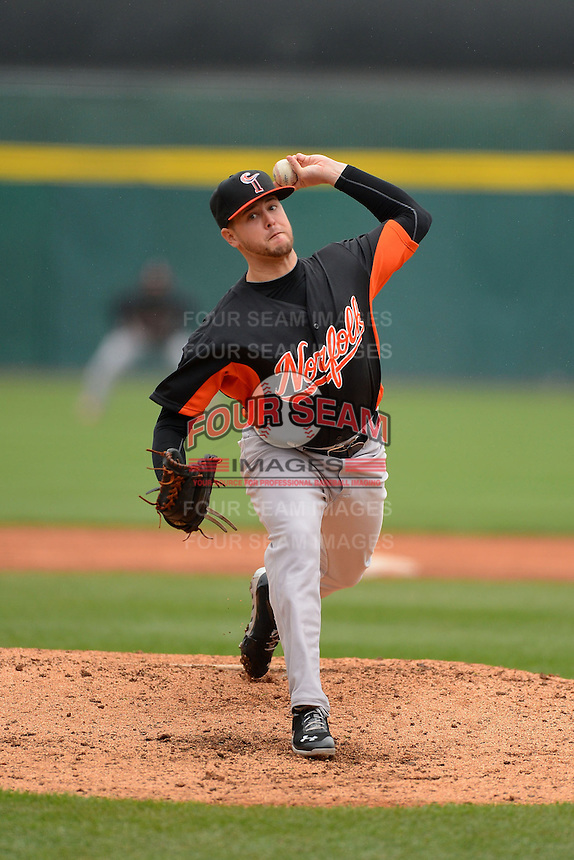 Norfolk Tides pitcher Chris Jones #43 during a game against the Buffalo Bisons on May 9, 2013 at Coca-Cola Field in Buffalo, New York.  Norfolk defeated Buffalo 7-1.  (Mike Janes/Four Seam Images)