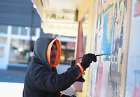 """The artist """"El Varon"""" paints a mural, Monday, January 20, 2020 at the Taquería Don Güero along Emma Ave in Springdale. Check out nwaonline.com/200121Daily/ for today's photo gallery.<br /> (NWA Democrat-Gazette/Charlie Kaijo)"""