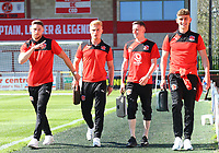 Fleetwood Town&rsquo;s Wes Burns, Fleetwood Town&rsquo;s Kyle Dempsey, Fleetwood Town&rsquo;s Ashley Hunter and Fleetwood Town&rsquo;s Harrison Biggins arrive for the match<br /> <br /> Photographer Leila Coker/CameraSport<br /> <br /> The EFL Sky Bet League One - Fleetwood Town v Walsall - Saturday 5th May 2018 - Highbury Stadium - Fleetwood<br /> <br /> World Copyright &copy; 2018 CameraSport. All rights reserved. 43 Linden Ave. Countesthorpe. Leicester. England. LE8 5PG - Tel: +44 (0) 116 277 4147 - admin@camerasport.com - www.camerasport.com