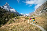 Trail running above Zermatt, Switzerland