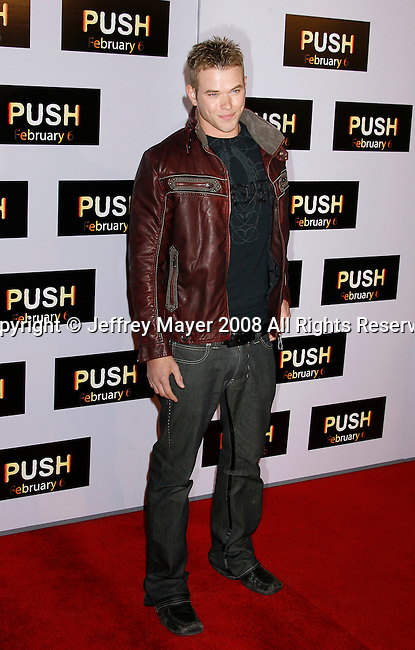 """WESTWOOD, CA. - January 29: Actor Kellan Lutz arrives at the Los Angeles Premiere of """"Push"""" at the Mann Village Theater on January 29, 2009 in Westwood, California."""