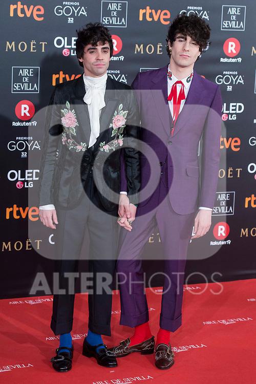 Javier Ambrossi and Javier Calvo attends red carpet of Goya Cinema Awards 2018 at Madrid Marriott Auditorium in Madrid , Spain. February 03, 2018. (ALTERPHOTOS/Borja B.Hojas)