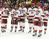Eric Kroshus (Harvard - 10), Luke Greiner (Harvard - 26), Petr Placek (Harvard - 27), Peter Starrett (Harvard - 14), Brendan Rempel (Harvard - 42), Colin Blackwell (Harvard - 63) - The Harvard University Crimson defeated the visiting Clarkson University Golden Knights 3-2 on Harvard's senior night on Saturday, February 25, 2012, at Bright Hockey Center in Cambridge, Massachusetts.