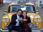 "Marco Pierre-White an Delia Smith arrive in an .American Taxi at the opening of Delia's American .Style diner ""Yellows"" at Carrow Road in Norwich, Norfolk.."