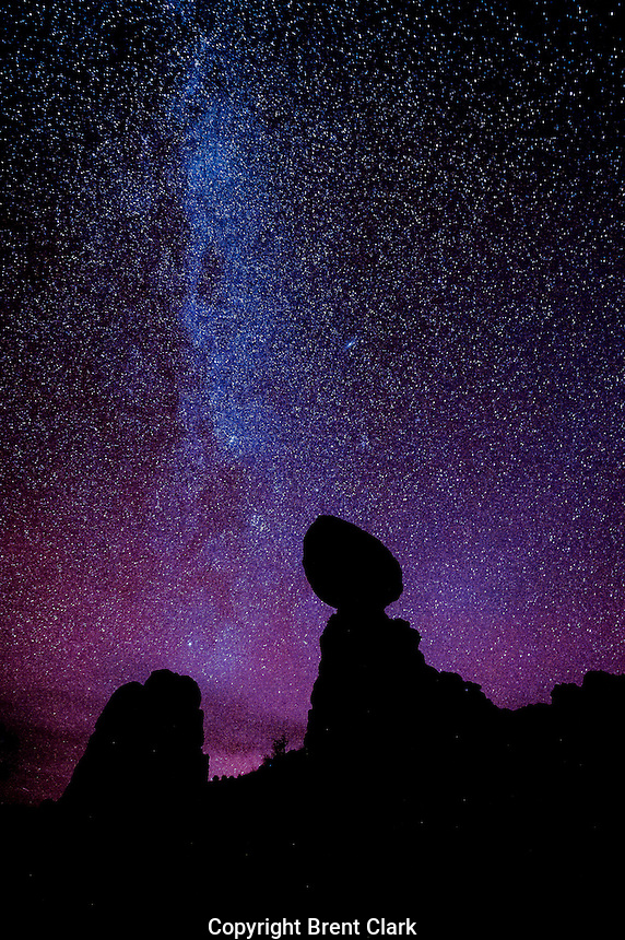 Night sky at Arches National Park, Utah. Balanced rock and Milky Way