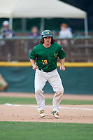 Beloit Snappers catcher Jordan Devencenzi (18) leads off first base during a game against the Dayton Dragons on July 22, 2018 at Pohlman Field in Beloit, Wisconsin.  Dayton defeated Beloit 2-1.  (Mike Janes/Four Seam Images)