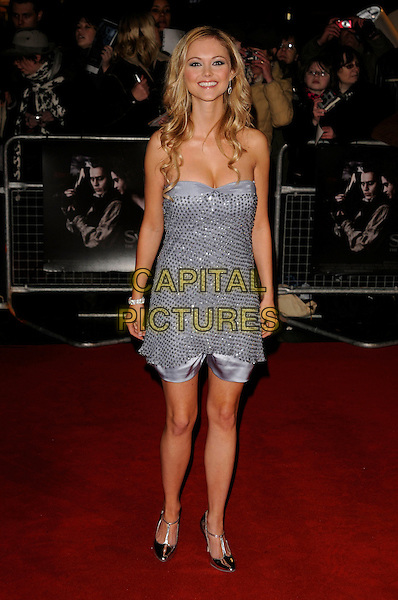 "JAYNE WISENER.""Sweeney Todd: The Demon Barber of Fleet Street"" European film premiere, Odeon cinema, Leicester Square, London, England..January 10th, 2008 .full length dress strapless blue silver beads beaded studded jane .CAP/CAN.©Can Nguyen/Capital Pictures"