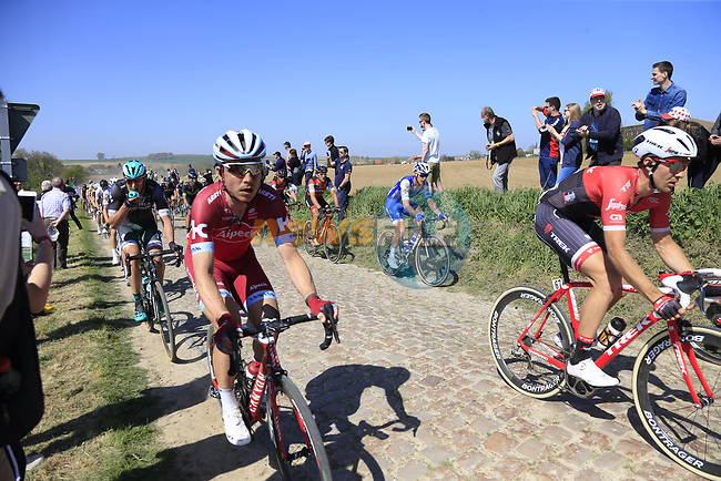The peloton with Tony Martin (GER) Team Katusha Alpecin on the front on pave sector 25 Briastre a Solesmes during the 115th edition of the Paris-Roubaix 2017 race running 257km Compiegne to Roubaix, France. 9th April 2017.<br /> Picture: Eoin Clarke   Cyclefile<br /> <br /> <br /> All photos usage must carry mandatory copyright credit (&copy; Cyclefile   Eoin Clarke)