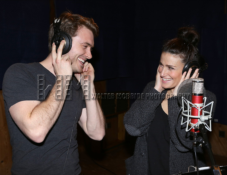 """James Snyder and Idina Menzel attends the """"If/Then"""" Original Broadway Cast Recording at MSR Recording Studios on April 7, 2014 in New York City."""
