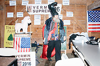 Satirical presidential candidate Vermin Supreme gets ready before delivering a stump speech at Ten Rod Farm in Rochester, New Hampshire. Supreme's platform advocates a pony-based economy, using zombies to solve the energy crisis, and other outlandish ideas. Supreme has been on the New Hampshire primary ballot in 2008 and 2012, though he began running for president in 1992. Vermin Supreme will be on the Democratic party ballot in the 2016 New Hampshire primary.