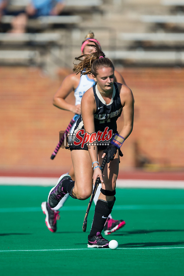 Jule Grashoff (24) of the Wake Forest Demon Deacons controls the ball during first half action against the North Carolina Tar Heels at Kentner Stadium on October 23, 2015 in Winston-Salem, North Carolina.  The Demon Deacons defeated the Tar Heels 3-2.  (Brian Westerholt/Sports On Film)