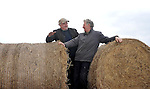 The last two bails?. Kerry Farmers Donal McCarthy, Kilcummin, left and Oliver Fleming, Gneeveguilla check out the very last two bails of hay for sale at Castleisland Mart in County Kerry on Wednesday. Hay and sileage has almost doubled in price because of the shortage of winter fodder..Picture by Don MacMonagle