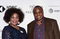 "NEW YORK CITY - APRIL 22:  Permanent Representative to the United Nations for Botswana Charles Thembani Ntwaagae and his wife Elizabeth Mmasello Ntwaagae attend National Geographic's ""Into The Okavango"" Screening at Tribeca Film Festival at Tribeca Festival Hub on April 22, 2018 in New York City. (Photo by Anthony Behar/National Geographic/PictureGroup)"