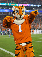 Charlotte, NC - December 2, 2017: Clemson Tigers mascot during the ACC championship game between Miami and Clemson at Bank of America Stadium in Charlotte, NC. Clemson defeated Miami 38-3 for their third consecutive championship title. (Photo by Elliott Brown/Media Images International)