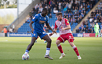 Frank Nouble of Colchester United holds up under pressure from Chris Stokes of Stevenage during Colchester United vs Stevenage, Sky Bet EFL League 2 Football at the JobServe Community Stadium on 5th October 2019