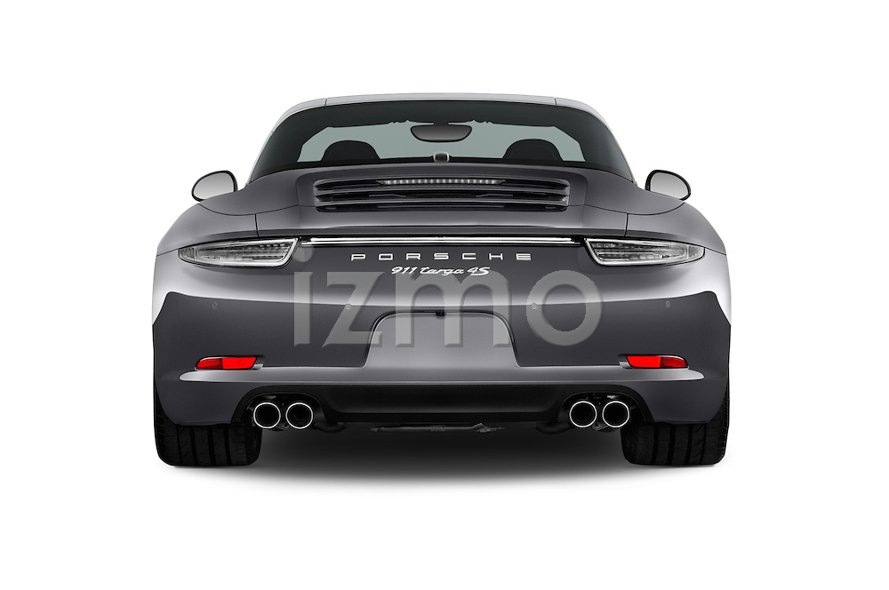 Straight rear view of a 2015 Porsche 911 Targa 4S 2 Door Coupe Rear View  stock images