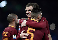 Calcio, Serie A: Roma, stadio Olimpico, 19 febbraio 2017.<br /> Roma&rsquo;s Leandro Paredes celebrates with his teammate Edin Dzeko after scoring during the Italian Serie A football match between As Roma and Torino at Rome's Olympic stadium, on February 19, 2017.<br /> UPDATE IMAGES PRESS/Isabella Bonotto