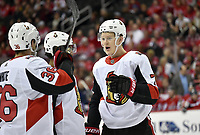 WASHINGTON, DC - FEBRUARY 26: Ottawa Senators left wing Brady Tkachuk (7) talks with Colin White (36), and Anthony Duclair (10) before a face-off during the Ottawa Senators vs. Washington Capitals NHL game February 26, 2019 at Capital One Arena in Washington, D.C.. (Photo by Randy Litzinger/Icon Sportswire)