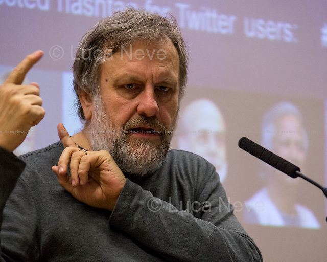 Professor Slavoj Zizek.<br /> <br /> London, 11/11/2014. Today LSE (London School of Economics) presented a public lecture called &quot;The Need to Censor Our Dreams&quot; hosted by the author of the book &quot;Trouble in Paradise: From the End of History to the End of Capitalism&quot;, Professor Slavoj Zizek (Slavoj Žižek is a Slovenian-born political philosopher - Marxism, German idealism and Lacanian psychoanalysis - and cultural critic, a senior researcher at the Institute for Sociology and Philosophy, University of Ljubljana, Slovenia, Global Distinguished Professor of German at New York University and International Director of the Birkbeck Institute for the Humanities and a visiting professor at a number of American Universities: Columbia, Princeton, New School for Social Research, New York University, University of Michigan). He writes widely on a diverse range of topics, including political theory, dialectical materialism, critique of ideology and art, film theory, cultural studies, theology, and psychoanalysis). Chair of the event was Dr Purna Sen (Deputy Director of the Institute of Public Affairs at the LSE; Chair of the board of the Kaleidoscope Trust, a member of the Board of RISE which is a domestic violence service provider and an Advisor to Justice for Gay Africans; she has served as Head of Human Rights for the Commonwealth Secretariat and as Director for the Asia-Pacific Program at Amnesty International).<br /> <br /> For more information please click here: http://bit.ly/1t2EkTK <br /> <br /> Here there is the link to podcast and video of the lecture: http://bit.ly/1xOBvoR &amp; http://bit.ly/1oPZ8xw