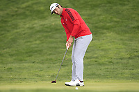 Jon Rahm (ESP) on the 18th green during Round 4 of the Open de Espana 2018 at Centro Nacional de Golf on Sunday 15th April 2018.<br /> Picture:  Thos Caffrey / www.golffile.ie<br /> <br /> All photo usage must carry mandatory copyright credit (&copy; Golffile | Thos Caffrey)