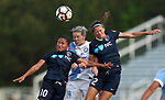 Cary, North Carolina  - Saturday April 29, 2017: Debinha, Alanna Kennedy, Ashley Hatch after a regular season National Women's Soccer League (NWSL) match between the North Carolina Courage and the Orlando Pride at Sahlen's Stadium at WakeMed Soccer Park.<br /> *** This photo is available at ISIphotos.com ***