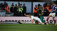 Twickenham, United Kingdom. 7th February, Owen FARRELL raise'e a finger afte scoring a break away try, during the England vs France, 2019 Guinness Six Nations Rugby Match   played at  the  RFU Stadium, Twickenham, England, <br /> &copy; PeterSPURRIER: Intersport Images