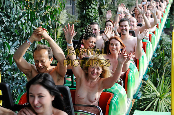 Volunteers take part In The Naked Roller Coaster World Record Attempt, to commemorate five years since the last world record. Held at Adventure Island, Southend-On-Sea, Essex, England October 25, 2015.. <br /> CAP/DH<br /> &copy;David Hitchins/Capital Pictures
