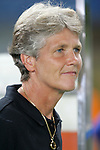 06 August 2008: United States head coach Pia Sundhage (SWE).  The women's Olympic team of Norway defeated the United States women's Olympic soccer team 2-0 at Qinhuangdao Olympic Center Stadium in Qinhuangdao, China in a Group G round-robin match in the Women's Olympic Football competition.