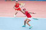 Makoto Ninomiya & Miyu Kato (JPN), <br /> AUGUST 22, 2018 - Tennis : <br /> Women's Doubles Round of 16<br /> at Jakabaring Sport Center Tennis Court <br /> during the 2018 Jakarta Palembang Asian Games <br /> in Palembang, Indonesia. <br /> (Photo by Yohei Osada/AFLO SPORT)