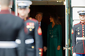 United States President Donald Trump and First Lady Melania Trump chats before welcoming Czech Republic Prime Minister Andrej Babiš and Mrs. Monika Babišová on the South Portico at White House in Washington, District of Columbia on Thursday, March 7, 2019. Credit: Ting Shen / CNP