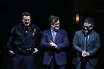 Chris Evans, Kenneth Lonnergan and Trip Cullman during the the Broadway Opening Night Performance curtain call for 'Lobby Hero' at The Hayes Theatre on March 26, 2018 in New York City.