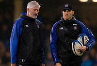 Bath Rugby's Head Coach Todd Blackadder with attack coach Girvan Dempsey<br /> <br /> Photographer Bob Bradford/CameraSport<br /> <br /> Heineken Champions Cup Pool 1 - Bath v Leinster - Saturday 8th December 2018 - The Recreation Ground - Bath<br /> <br /> World Copyright &copy; 2018 CameraSport. All rights reserved. 43 Linden Ave. Countesthorpe. Leicester. England. LE8 5PG - Tel: +44 (0) 116 277 4147 - admin@camerasport.com - www.camerasport.com
