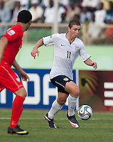 Nick Palodichuk dribbles the ball. US Under-17 Men's National Team defeated United Arab Emirates 1-0 at Gateway International  Stadium in Ijebu-Ode, Nigeria on November 1, 2009.