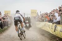 World Champion Peter Sagan (SVK/Bora-Hansgrohe) leading the way<br /> <br /> 116th Paris-Roubaix (1.UWT)<br /> 1 Day Race. Compiègne - Roubaix (257km)