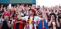 New York Red Bulls fans cheers on their team during a Major League Soccer game at PPL Park in Chester, PA.  Philadelphia defeated New York, 3-0.