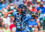 14 March 2016: Tampa Bay Rays catcher Luke Maile in action during a pre-season Spring Training game against the Atlanta Braves at Champion Stadium in the ESPN Wide World of Sports Complex in Kissimmee, Florida. The Ray fell to the Braves 5-0 in Grapefruit League play. Mandatory Credit: Ed Wolfstein Photo *** RAW (NEF) Image File Available ***
