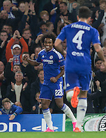 Willian of Chelsea celebrates his goal during the UEFA Champions League match between Chelsea and Maccabi Tel Aviv at Stamford Bridge, London, England on 16 September 2015. Photo by Andy Rowland.