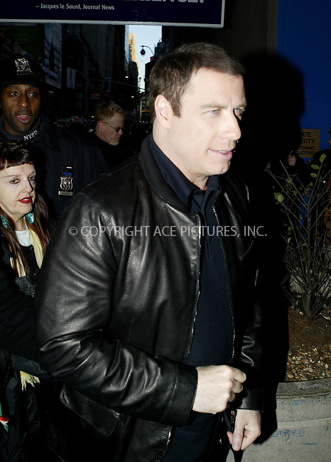 WWW.ACEPIXS.COM . . . . .  ....NEW YORK, FEBRUARY 23, 2005....John Travolta arrives at The Late Show with David Letterman.....Please byline: Ian Wingfield - ACE PICTURES..... *** ***..Ace Pictures, Inc:  ..Philip Vaughan (646) 769-0430..e-mail: info@acepixs.com..web: http://www.acepixs.com