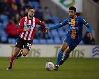 Lincoln City's Zack Elbouzedi vies for possession with Shrewsbury Town's Ethan Ebanks-Landell<br /> <br /> Photographer Andrew Vaughan/CameraSport<br /> <br /> The EFL Sky Bet League One - Shrewsbury Town v Lincoln City - Saturday 11th January 2020 - New Meadow - Shrewsbury<br /> <br /> World Copyright © 2020 CameraSport. All rights reserved. 43 Linden Ave. Countesthorpe. Leicester. England. LE8 5PG - Tel: +44 (0) 116 277 4147 - admin@camerasport.com - www.camerasport.com