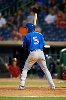 Dunedin Blue Jays second baseman Yeltsin Gudino (5) at bat during a game against the Clearwater Threshers on April 6, 2018 at Spectrum Field in Clearwater, Florida.  Clearwater defeated Dunedin 8-0.  (Mike Janes/Four Seam Images)